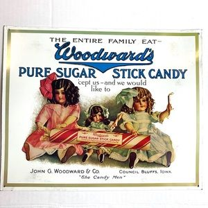 Vintage Metal Tin Sign Woodward's Pure Sugar Candy